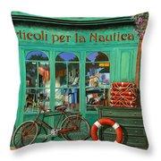 La Bicicletta Rossa Throw Pillow