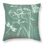 La Botanique Aqua Throw Pillow by Debbie DeWitt