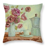La Caffettiera E I Fiori Amaranto Throw Pillow by Guido Borelli