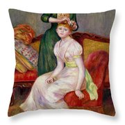 La Coiffure Throw Pillow by Renoir