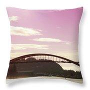 La Conner Rainbow Bridge-  By Linda Woods Throw Pillow