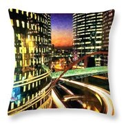 La Defense By Night - Paris Throw Pillow