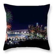 La Dodger Fireworks Throw Pillow