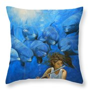 La Flautista Throw Pillow