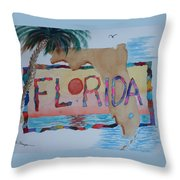 La Florida Flowered Land Throw Pillow