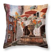 la fontana a St Paul de Vence Throw Pillow by Guido Borelli