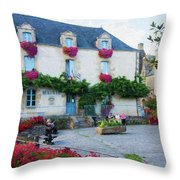 La Gacilly, Morbihan, Brittany, France, Town Hall Painting Throw Pillow