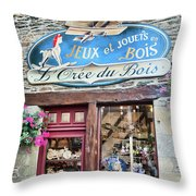 La Gacilly, Morbihan, Brittany, France, Wooden Toy Store Throw Pillow