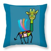 La Girafe A Plumes Throw Pillow