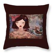 La Jolie Poupee Et L' Oiseau Throw Pillow