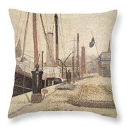 La Maria At Honfleur Throw Pillow by Georges Pierre Seurat