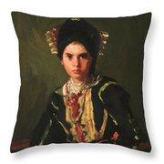 La Montera Segovia Girl In Fiesta Costume 1912 Throw Pillow