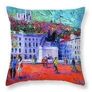 La Place Bellecour A Lyon Throw Pillow