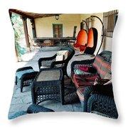 La Posada Historic Hotel Veranda Portrait Throw Pillow