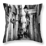 La Rambia Bw Street Gothic Quarter Narrow People  Throw Pillow