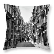 La Rambia Bw Streets  Throw Pillow