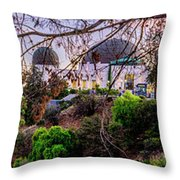 L A Skyline With Griffith Observatory - Panorama Throw Pillow
