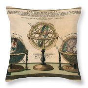 La Sphere Artificielle - Illustration Of The Globe - Celestial And Terrestrial Globes - Astrolabe Throw Pillow
