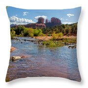 Lab In River At Sedona Arizona Throw Pillow