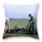 Labourer And Peasant  Throw Pillow