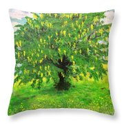 Laburnum Tree In Splendid Isolation Throw Pillow
