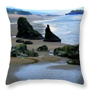 Labyrinths At Bandon Beach Throw Pillow