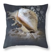 Lace Murex Sea Shell In Blue 2 Throw Pillow