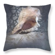 Lace Murex Sea Shell In Blue Throw Pillow
