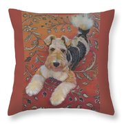 Wire-haried Fox Terrier Throw Pillow