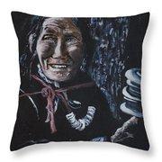 Ladakhi Woman Spinning A Prayer Wheel Throw Pillow