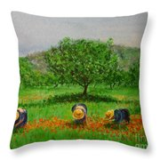Ladies In Poppy Fields Ibiza Throw Pillow