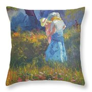 Ladies In The Woods Throw Pillow