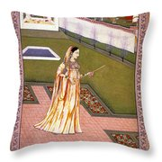 Lady Alone At Holi Festival Throw Pillow