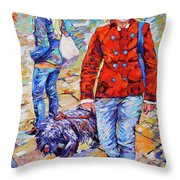 Lady  And Dog Throw Pillow
