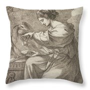 Lady And Eagle Throw Pillow