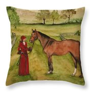 Lady And Horse Throw Pillow