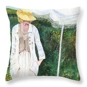 Lady And The Umbrella Throw Pillow