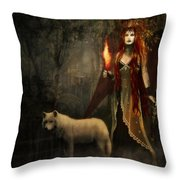 Lady And The Wolf Throw Pillow