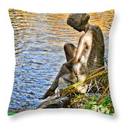 Lady And Water Throw Pillow