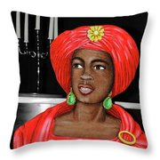 Lady At The Candelabra Throw Pillow