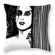 Lady At The Door Throw Pillow