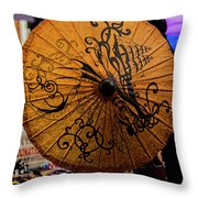 Lady Behind Parasol Throw Pillow