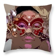 Lady Behind The Mask Throw Pillow