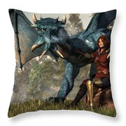 Lady Blue Dragon Throw Pillow