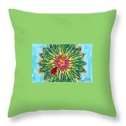Lady Bug On Flower Throw Pillow