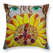 Lady Bug Peace Throw Pillow