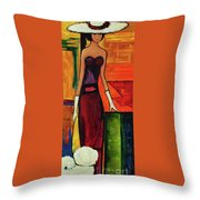 Bichon Frise Lady Throw Pillow