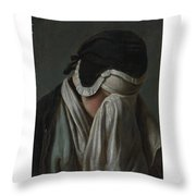 Lady Crying Throw Pillow