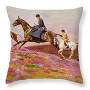 Lady Currie With Her Sons Bill And Hamish Hunting On Exmoor  Throw Pillow