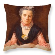 Lady In A Pink Silk Dress Throw Pillow